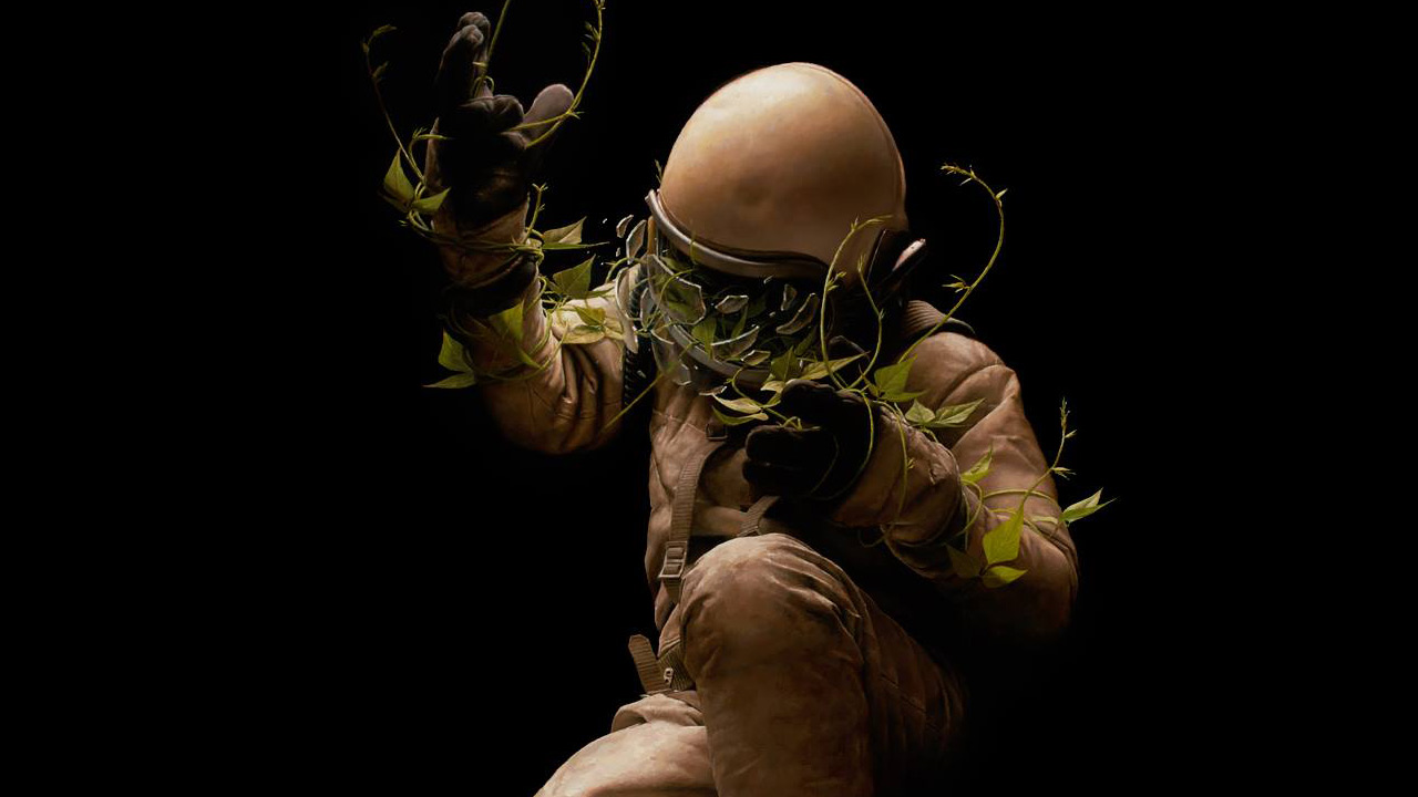 Gravity-defying painting of Jeremy Geddes